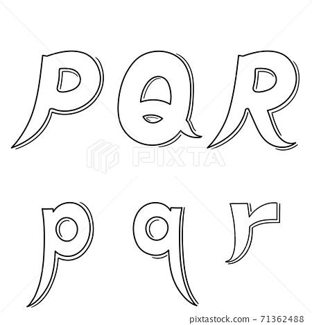 Hand writing P&Q&R on white background.Vector illustration design. 71362488