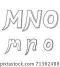 Hand writing M&N&O on white background.Vector illustration design. 71362489