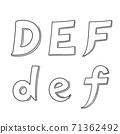 Hand writing D&E&F on white background.Vector illustration design. 71362492