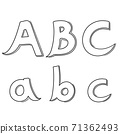 Hand writing A&B&C on white background.Vector illustration design. 71362493