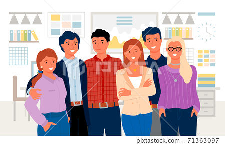 Employees Standing in Office, Colleague Vector 71363097