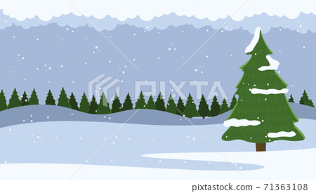 Winter nature landscape with fir-tree and falling snow, spruce forest on horizon behind a snowy hill 71363108