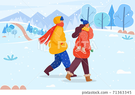 People Walking in Warm Clothes in Winter Lawn 71363345
