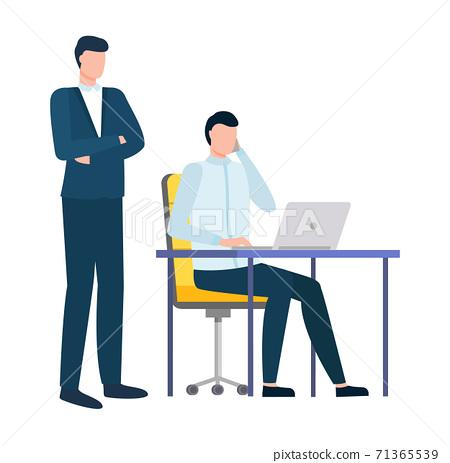 Man Working on Laptop, Boss of Worker Watching 71365539