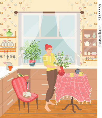Sweet Home Woman in House with Houseplant Vector 71365559