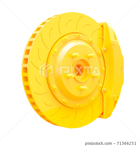 Yellow Brake Disc for car. 71366251