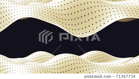 3d illustration Abstract wave of black and white curve And various surface patterns Illusion. Illusion illustration. Futuristic background of wave line dynamic curve stripe flag 71367734