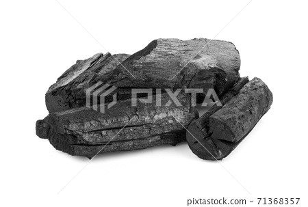 Natural wood charcoal, traditional charcoal or hard wood charcoal isolated 71368357