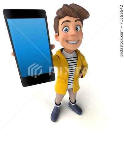 Fun 3D Illustration of a cartoon kid with rain gear 71369642