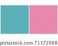 제목 : 일본식 디자인 칭하이 물결 문양, 西崖 파란색 녹색, 분홍색의 2 색, 길상 재수 일본식 이미지 소재 71372068