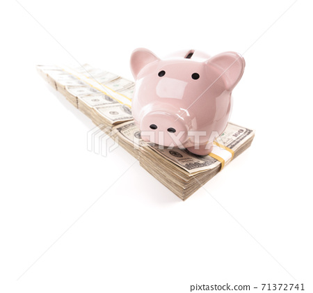 Pink Piggy Bank on Row of Hundreds of Dollars Stacks Isolated on a White Background. 71372741