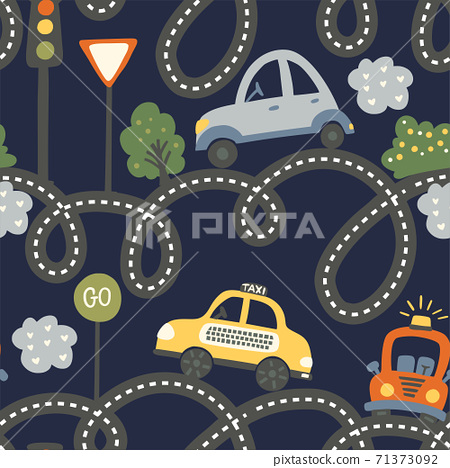 City car seamless vector pattern. 71373092