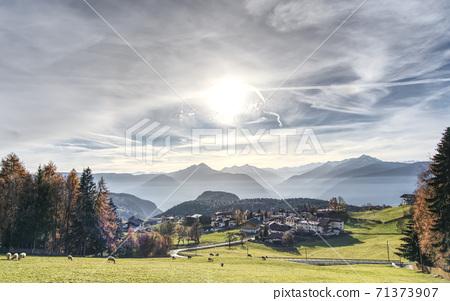Avelango di Sopra in ITA or Hafling Obersdorf in GER village in South Tirol, Italy in the bilingual province Bolzano. 71373907