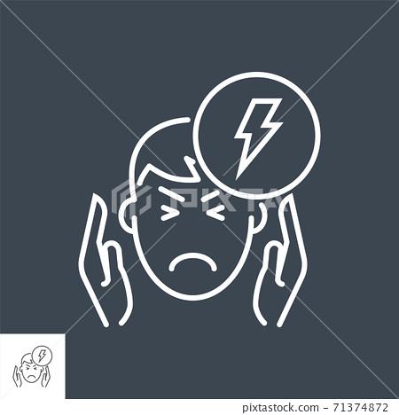 Headache related vector thin line icon. 71374872