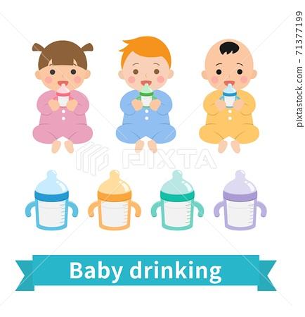 3位可愛的嬰兒喝牛奶與奶瓶 71377199