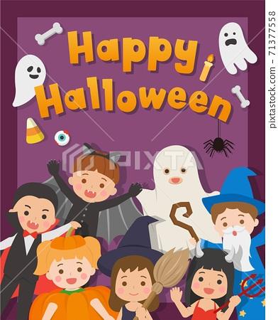 可愛兒童的萬聖節裝扮的卡片,南瓜,巫婆,蝙蝠,魔鬼,鬼,吸血鬼,魔法師,卡通漫畫向量插畫,隔絕 71377558