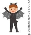 可愛兒童的萬聖節裝扮,蝙蝠跟吸血鬼,卡通漫畫向量插畫,集,隔絕 71377562