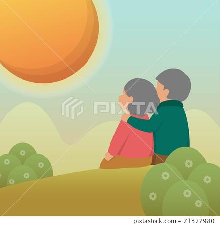 老年夫妻坐在山坡上,卡通漫畫向量插畫,卡片,背景 71377980