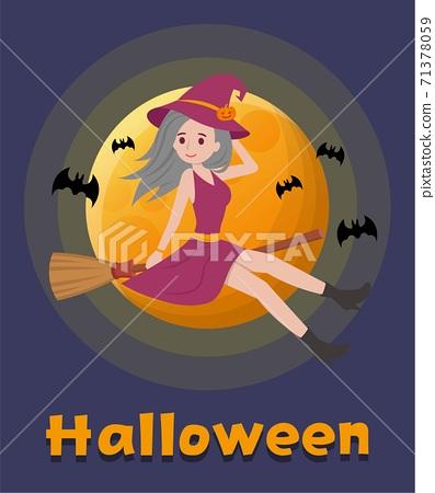 萬聖節的女巫在夜空中騎掃帚,卡通漫畫向量插畫 71378059