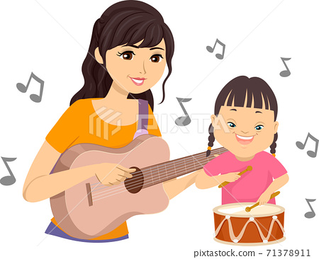 Teen Play Music Kid Down Syndrome Illustration 71378911