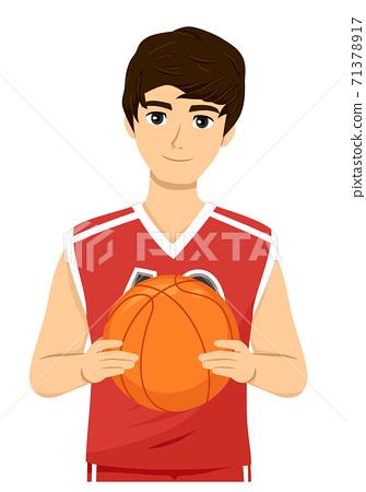 Teen Guy Hold Ball Basketball Illustration 71378917