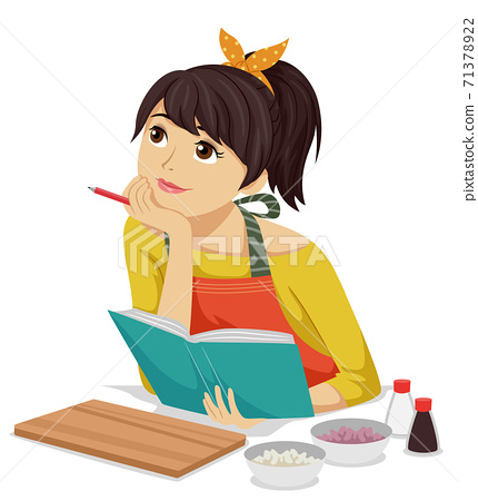 Teen Girl Think Cook Book Recipe Illustration 71378922