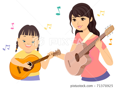 Teen Girl Down Syndrome Music Therapy Illustration 71378925