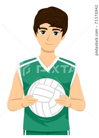 Teen Boy Volleyball Player Illustration 71378942