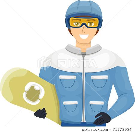 Teen Guy Snow Board Helmet Goggles Illustration 71378954