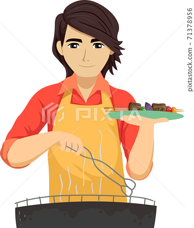 Teen Guy Barbecue Plate Illustration 71378956