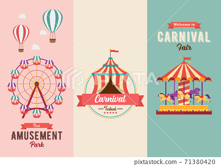 Set of Fun fair and Carnival theme banners 71380420