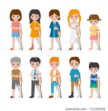 10種男人與女人與兒童卡通人物,骨折,骨頭,腿的組合,卡通漫畫插圖向量 71380566