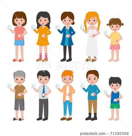 10種男人與女人與兒童卡通人物,吃藥,治療的組合,卡通漫畫插圖向量 71380568