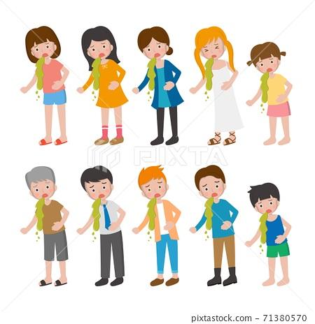10種男人與女人與兒童卡通人物,疾病,腹痛,嘔吐的組合,卡通漫畫插圖向量 71380570