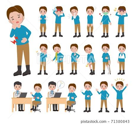 18種男人疾病,感冒,受傷的組合,卡通漫畫插圖量向 71380843