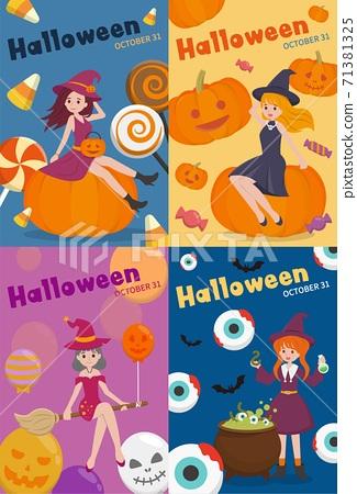 4張萬聖節的女巫跟跟南瓜,卡通人物漫畫向量插畫,亞洲風格,直式海報 71381325