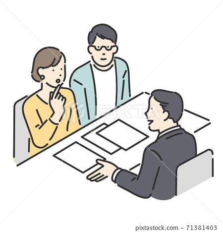 與一對在櫃檯諮詢的顧客一起服務客戶的負責人的插圖資料 71381403