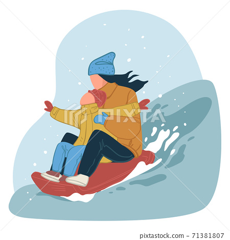 Mom and kid going downhill on sledges, wintertime 71381807