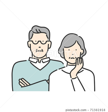 Senior generation couple thinking about upper body illustration material 71381918