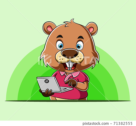 The beaver standing and holding his laptop for presentation 71382555