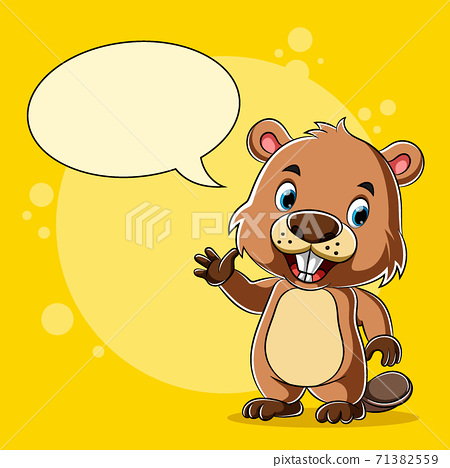 The beaver standing and talking with the blank bubble speech 71382559