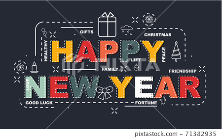 Design Concept Of Word HAPPY NEW YEAR Website Banner 71382935