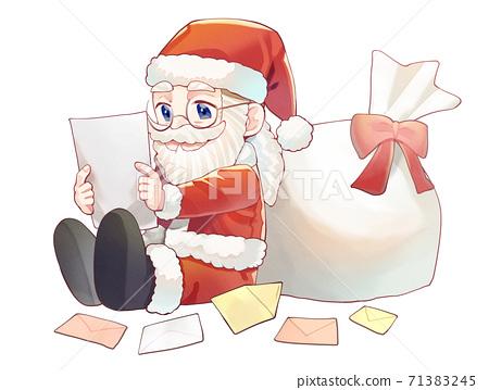 편지를 읽는 산타 클로스 일러스트 71383245