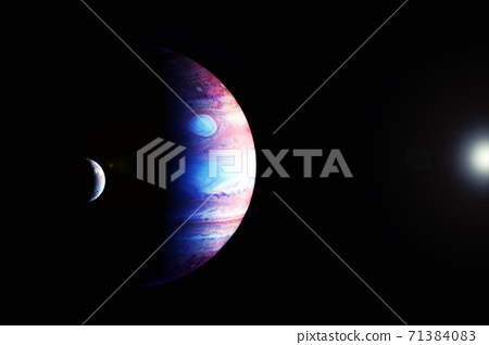 Planet Jupiter in fantastic colors. Elements of this image furnished by NASA 71384083