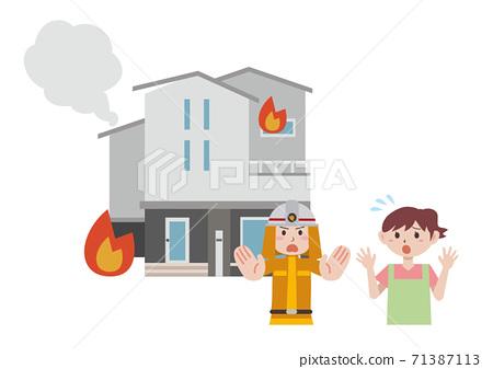 房子,火,房子 71387113