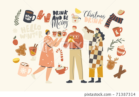 Male and Female Characters Enjoying Drinking Christmas Drinks, Young People in Warm Clothes and Plaid Holding Cups 71387314