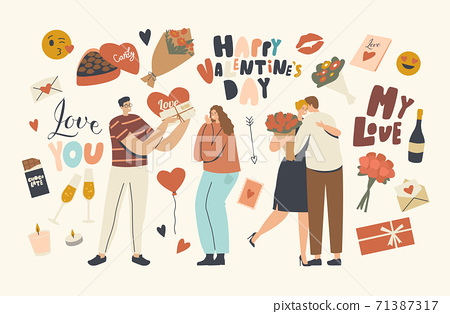Loving Couple Characters Celebrate Valentines Day, Man Giving Heart Postcard and Flowers Bouquet to Girl. Human Relation 71387317
