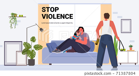 drunk angry husband punching and hitting wife with child stop domestic violence aggression concept 71387804