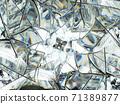 Gemstone diamond or shiny glass wavy triangular texture kaleidoscope 71389877