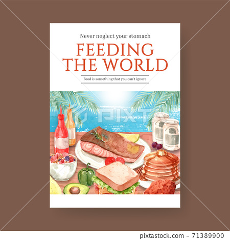 Poster with world food day concept design for advertise and leaflet watercolor vector 71389900